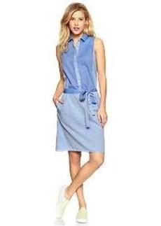 Colorblock sleeveless shirtdress