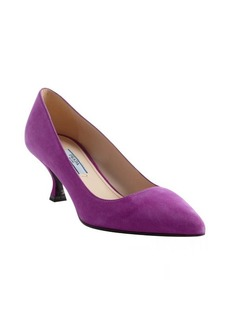 Prada violet suede pointed toe kitten heel pumps