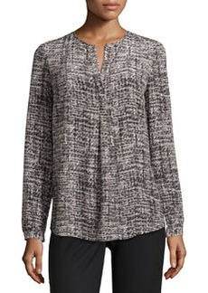 Lafayette 148 New York Samantha Long-Sleeve Printed Georgette Blouse, Black Multi