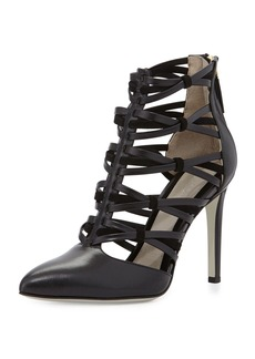Jason Wu Strappy Leather Ankle Bootie, Black
