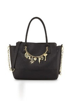 Betsey Johnson Princess Charming Faux-Leather Charm Tote, Black/Gold