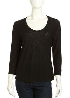 James Perse Soft V-Neck Slub Tee, Black