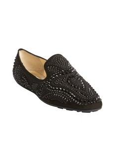 Jimmy Choo black jewel studded leather loafers