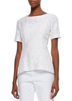 Lafayette 148 New York Heidi Jacquard Short-Sleeve Top