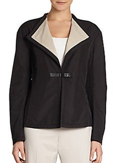 Lafayette 148 New York Relaxed Faux Leather Trim Jacket