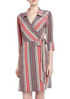 Laundry by Shelli Segal Three-Quarter-Sleeve Dotted Print Wrap Dress, Deep Neo Pink