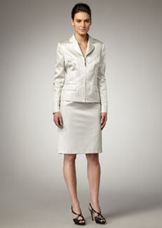 Albert Nipon Jacquard Zip-Front Suit