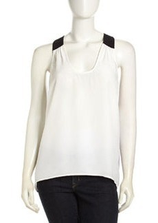 Central Park West Tricolor Silk Tank, White/Black