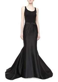 Zac Posen Long Duchess Mermaid Skirt, Black