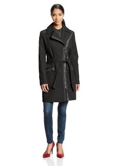 Via Spiga Women's Asymmetric Front-Zip Trench Coat with Faux-Leather Trim