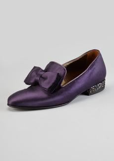 Lanvin Satin Glitter-Heel Bow Slipper