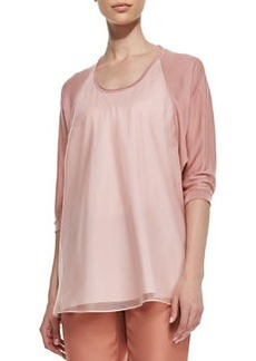 Lafayette 148 New York Cashmere Tunic with Silk Overlay