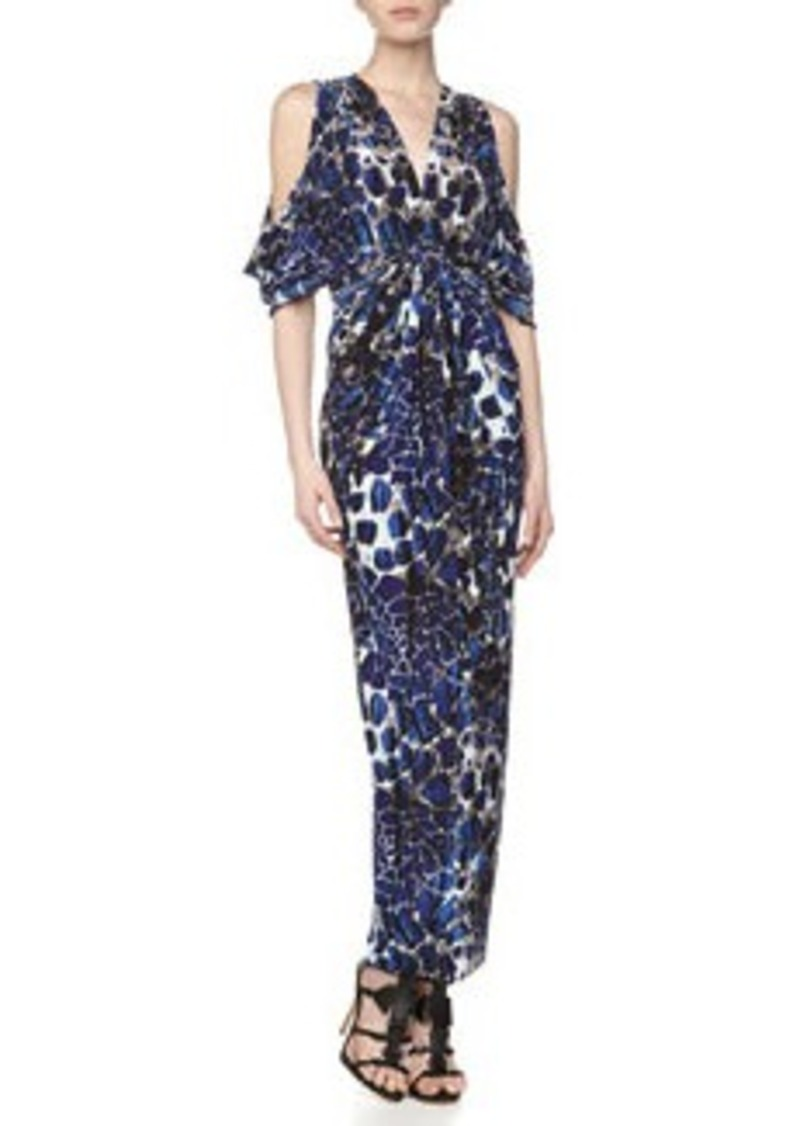 T Bags Deep-V Stretch Maxi Dress, Navy Print