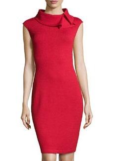 St. John Ruffle-Collar Knit Dress, Ruby