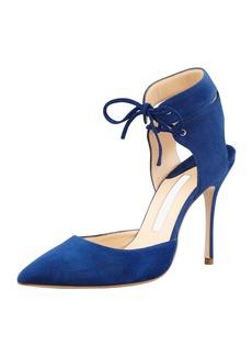 Manolo Blahnik Lara Suede Laced-Ankle Pump, Blue