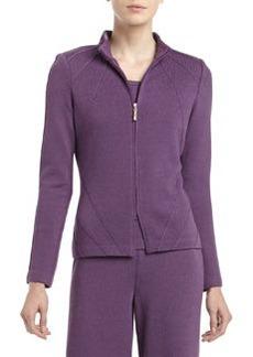 St. John Santana Knit Mock-Neck Fitted Zip Jacket, Plum