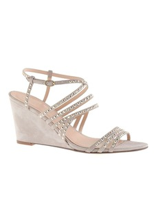 Jeweled suede strappy wedges