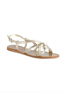 Prada Sport gold leather knotted double strapped sandals