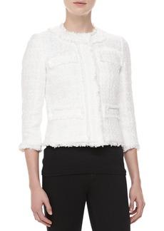 Michael Kors Liquid Tweed Jewel-Neck Jacket, Ivory