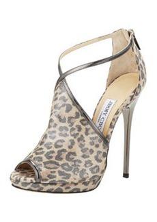 Fey Peep-Toe Leopard-Print Sandal, Anthracite   Fey Peep-Toe Leopard-Print Sandal, Anthracite
