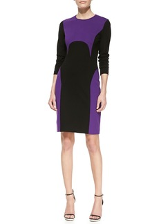 Michael Kors Two-Tone Ponte Dress, Grape