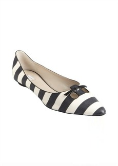 Marc Jacobs navy and white striped cutout pointed toe flats
