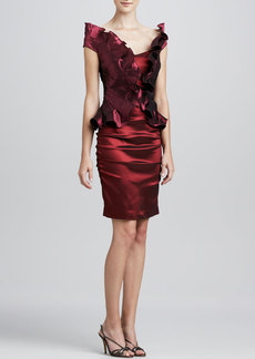Kay Unger New York Ruffled-Bodice Cocktail Dress