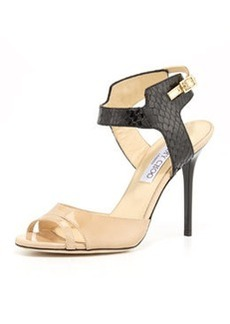 Jimmy Choo Marcia Snake & Patent Ankle-Wrap Sandal, Nude/Black