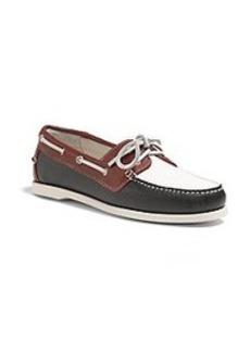 Color-Block Calfskin Boat Shoes