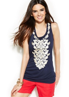 INC International Concepts Embroidered Sleeveless Top