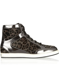 Jimmy Choo Tokyo leopard-print calf hair and mirrored-leather sneakers