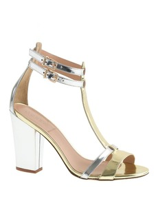 Mixed metallic gladiator high-heel sandals