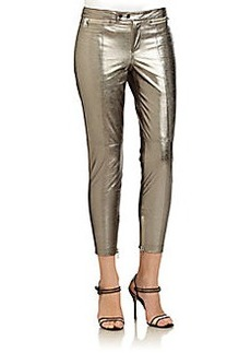 Robert Rodriguez Zip-Detail Metallic Leather Cropped Pants
