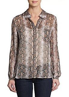 Diane von Furstenberg Lorelei Python-Print Silk Shirt