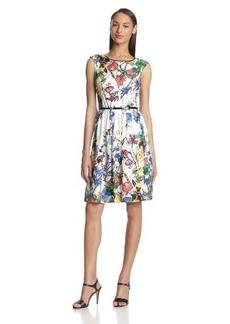 Ellen Tracy Women's Cap-Sleeve Scarf-Print Dress