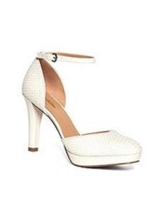 Woven Calfskin Ankle Strap Heels