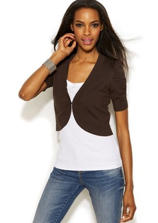 INC International Concepts Petite Ruched-Sleeve Cropped Cardigan