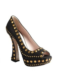 Miu Miu black studded leather platform heels