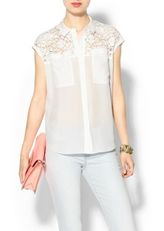 Rebecca Taylor Short Sleeve Lace Pocket Top