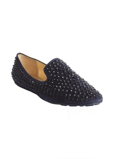 Jimmy Choo navy suede 'Wheel' jewel studded slip-on loafers