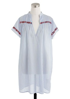 Contrast-embroidered stripe tunic