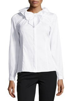 Lafayette 148 New York Clarissa Tuxedo Shirting Ruffle Blouse, White