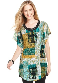 Style&co. Embellished Patchwork-Print Tunic