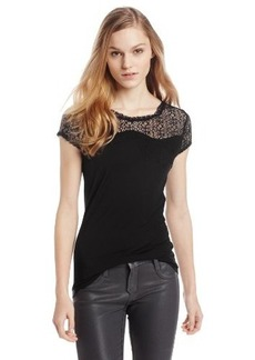 Elie Tahari Women's Davis Jersey Knit Top with Crochet Yoke