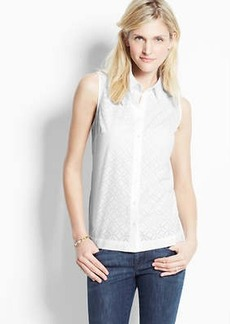 Petite Laser Cut Cotton Sleeveless Shirt