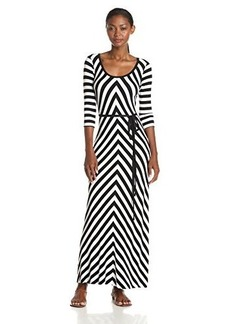 Calvin Klein Women's Scoop-Neck Maxi Dress with Belt