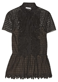 Oscar de la Renta Lace and tulle blouse