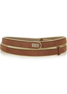 M Missoni Metallic leather-trimmed suede belt