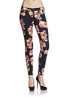 Hudson Floral-Print Super Skinny Jeans