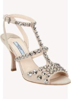 Prada Crystal Stud T-strap Sandals
